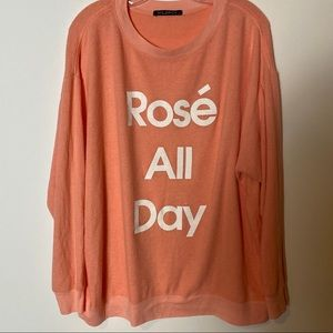 Wildfox Rose All Day Fleece Sweatshirt SZ S